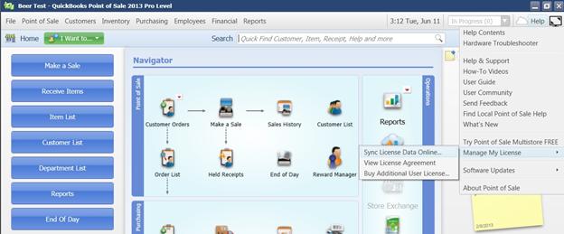 Sync Your QuickBooks Point Of Sale Desktop License