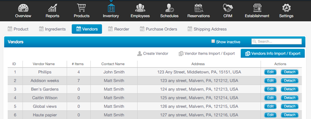 Importing Vendors, Inventory Records and Quantity on Hand